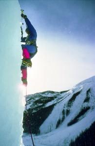 Climbing frozen waterfall. Banff, Alberta. 1975